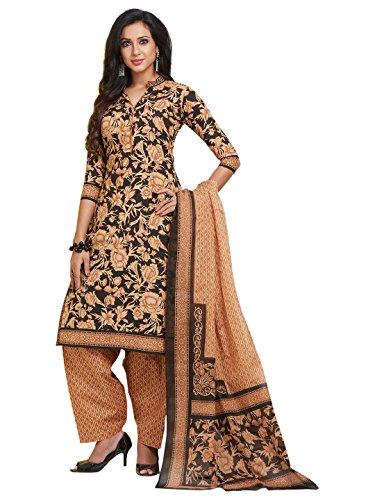 Jevi Prints Women's Unstitched Pure Cotton Black & Brown Floral Printed Dress...