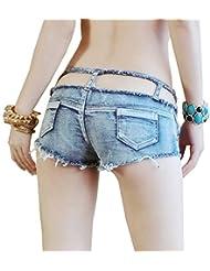 Wgwioo Shorts Cut Off Denim Shorts Femmes Taille Basse Mini Hot Pants Clubwear Creux Taille Tassel Court Jeans Lightblue