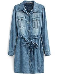 BININBOX® Fashion Denim Damen Kleid Langarm Button Halbarm Hemd Kleid Revers mit Gürtel Knielang Herbst Frühjahr(S, Dunkelblau)