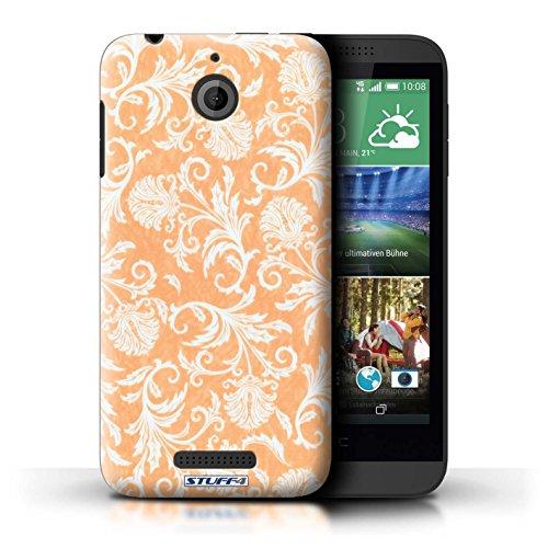 Kobalt® Imprimé Etui / Coque pour HTC Desire 510 / Fleurs Bleues conception / Série Fleurs Fond Orange