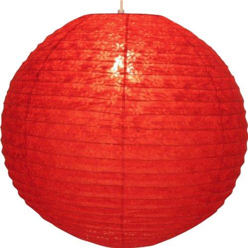 Guru-Shop Runder Lokta Papierlampenschirm, Hängelampe Corona Ø 50 cm, Rot, Lokta-Papier, Farbe: Rot, Deckenleuchte Kugelförmig