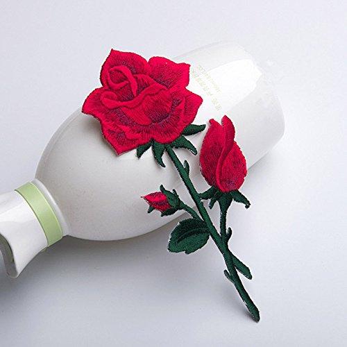 Dreamshome Rot Stickerei Rose Blume Nähen Eisen auf Patch Abzeichen Staubbeutel Hat Kleid Jeans-Applikation Craft -