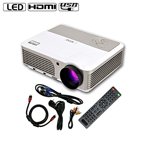 EUG Home Theater Projector 2600 Lumens LED Bulb LCD Screen Projector 1080P HD Support HDMI USB VGA AV TV Audio Connection, Ideal for Movies, Video Games, Parties, TV Shows and More