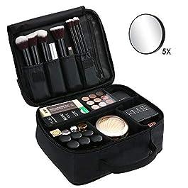 Beauty Case da Viaggio Antiurto con Divisore Regolabile,5x Specchio e Manico,Porta Trucchi Impermeabile, Trousse Make Up…