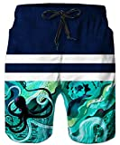 Idgreatim Männer 3D Print Quick Dry Strand Shorts mittlerer Länge Badehose Einstellbare Kordelzug S