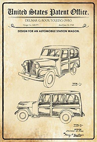 Ohio Von Geschichte (US Patent - Design for An Automobile Station Wagen - Entwurf für ein Kombi - Roos, Ohio, 1948 - Urkunde No 148.579 - Schild aus blech, tin sign, geschichte)