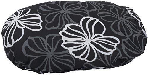Kissen für Hunde Oval 100 x 70 cm Blumen Anthrazit Grau weiß Hundekissen