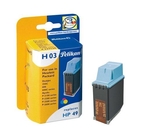 Pelikan 337726 - Cartucho de tinta HP DeskJet 600 - Hp 49-51649A - TRICOLOR