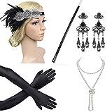 Beelittle 1921er Jahre Zubehör Set Flapper Stirnband, Halskette, Handschuhe, Zigarettenspitze Great Gatsby Zubehör für Frauen (Spielzeug)