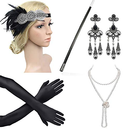 Beelittle 1921er Jahre Zubehör Set Flapper Stirnband, Halskette, Handschuhe, Zigarettenspitze Great Gatsby Zubehör für Frauen