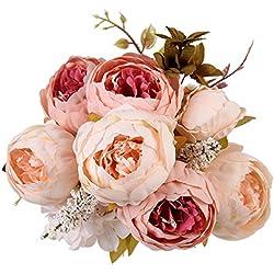 Houda künstlicher Pfingstrosen-Strauß, Kunstblumen aus Seide, Bouquet für Zuhause oder als Hochzeitsdekoration champagnerfarben