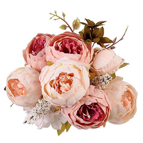 Bouquet de fleurs artificielles en soie Pivoine Décoration de maison/mariage (Champagne)