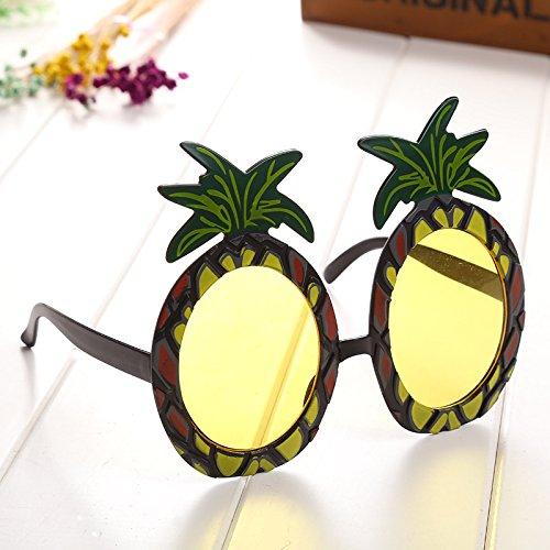 Kicode Tropische Ananas 1Stk Gelb Fruchtförmige Gläser Erwachsene Kostüm Sonnenbrillen Zubehör Hawaiian Beach Sommer Party (Erwachsene Für Kostüme Ananas)