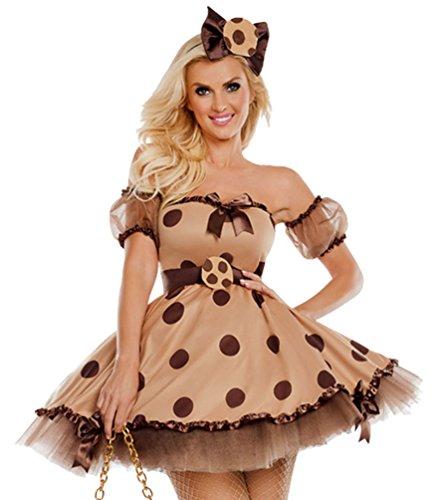 Anguang Damen Dienstmädchen Mädchen Kostüm Einteiliges Kleid Punkt Bar Kleid Beige L (Bar Dienstmädchen Kostüm)