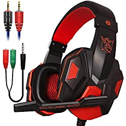 Xmowi 3.5 mm Wired Noise Isolation Gaming Headset and Audio Y Splitter Cable (1 Male to 2 Female) with Mic, Vol Control for Laptop Computer, Cellphone, PS4 (Red)