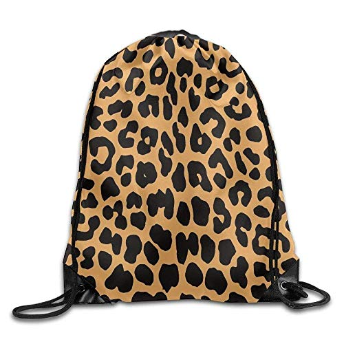 Leopard Animal Print Tote (HiExotic Eco-Friendly Turnbeutel Hipster Unisex Cool Animal Leopard Print Print Tote Sack Bag Rucksack Drawstring Backpack Travel Bag Daypack)