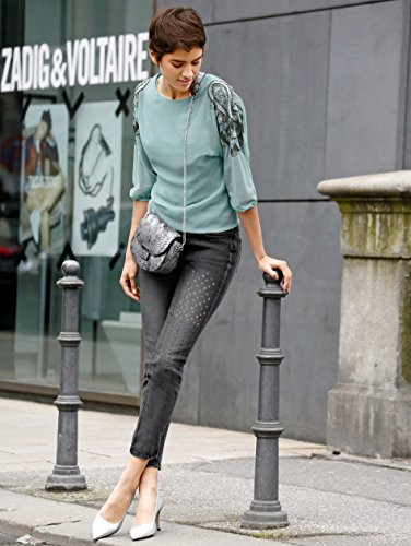 Damen Jeans mit Metallplättchendekoration by AMY VERMONT Grau