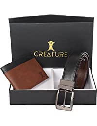 Creature Combo Of Brown Wallet For Men & Black-Brown Reversible Belt For Men(BL-01 WL-007)