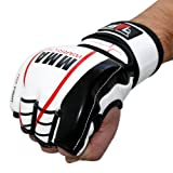 WARRIOR MMA Handschuhe professionelle hochwertige Qualität echtes Leder Boxhandschuhe Sandsack Training Grappling Sparring Muay Thai Kickbox Freefight Kampfsport BJJ Sandsackhandschuhe Gloves FOX-FIGHT weiss / rot, L