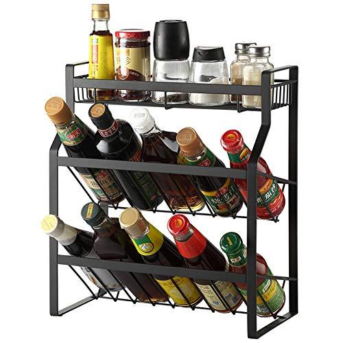 Support de rangement pour la cuisine avec 3 niveaux inox - Parfait pour les conserves ou les pots à herbes et à épices - Stockage idéal dans la cuisine noire