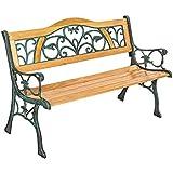TecTake Banc de jardin, Poids: 24,5 kg!!, en bois et fonte, 124 x 60 x 83cm, Dosseret en fonte massive