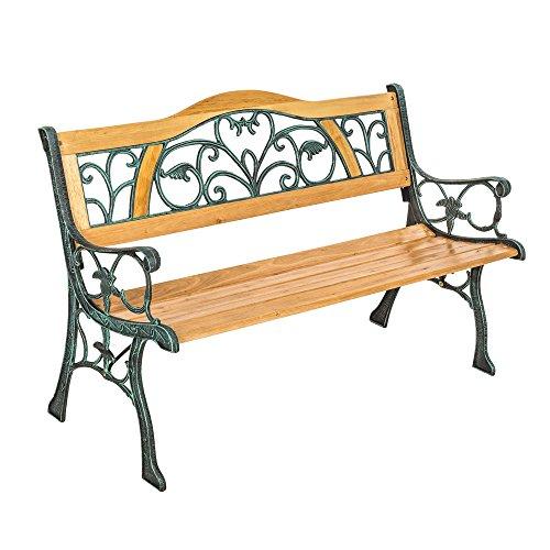 TecTake Gartenbank - Gesamtgewicht: ca. 24,5 kg - Parkbank Sitzbank Gartenmöbel Holzbank Bank Gusseisen Metall Holz wetterfest Rückenlehne aus Holz und massivem Gusseisen