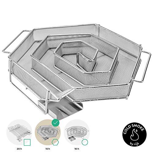 riijk Cold Smoke Kaltrauchgenerator 6-eckig, Sparbrand für Smoker, Grill oder - Und Räucherofen Grill
