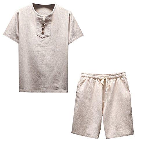 Lino e cotone manica corta maglietta landfox tinta unita cotone t-shirt maglietta uomo estate uomo manica corta comfy in lino soft blouse t-shirt top shorts pantaloni set camicetta di lino da uomo