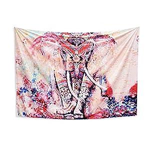 AUSHEN Elephant Mandala Tapestry Indian Hippie Wall Hanging Printed Bohemian Tapestries Bedding Bedspread Picnic Beach Sheet Table Cloth Yoga Mat 150 * 130 cm (A)