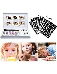 Kit de Tatouage Temporaire, Kit de Glitter Tattoos, 24 Couleurs Brillantes + 120 Brillant Corps Pochoirs + 5 Colle + 2 Brosss Maquillage + 1 Liquide de nettoyage pour les Enfants Adolescent Adulte, Halloween