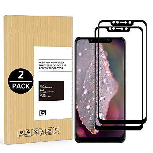 Yomiro Vetro Temperato Xiaomi Pocophone F1, [2 pack] Copertura Completa Pellicola Protettiva per Xiaomi Pocophone F1, Trasparenza Alta Definizione, Anti-riflesso, 9H Durezza Resistente, Anti Graffi