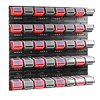 40 stck. Box mit Deckel + Wandregal 80 x 80 cm, Stapelboxen Schüttenregal Sichtlagerkästen Lagersystem