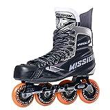Mission Inlinehockey Skate Inhaler NLS:05 (SMU) SR, Width E, Rollenhärte 84A, Verschiedene Größen, HI-LO Steel Chassis, ABEC 5 Bearing