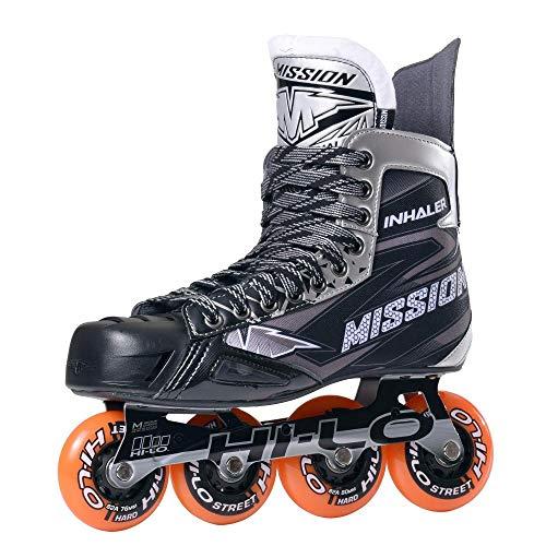 MISSION Inlinehockey Skate Inhaler NLS:05 (SMU) SR, Width E, Rollenhärte 84A, US8.0/EU41, HI-LO Steel Chassis, ABEC 5 Bearing