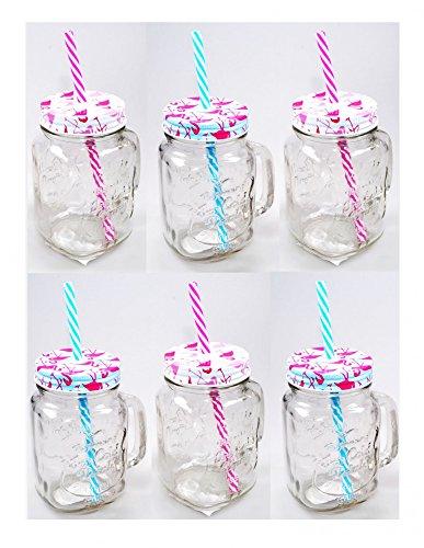 Trinkglas mit Henkel Deckel und Strohhalm 450 ml Flamingo Design 2-fach sortiert 6 - Mit Metall-krug Deckel