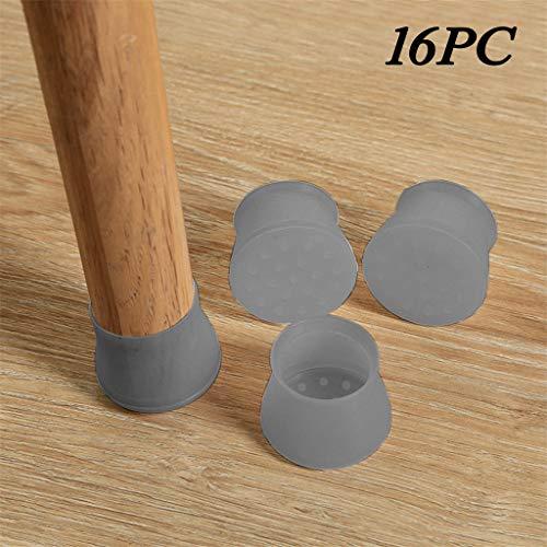Lukame Rutschfestes Silikon Tisch- Und Stuhlfußmatte Verschleißfeste Tisch- Und Stuhlfußabdeckung Kappe Bodenschutz (16PC) -