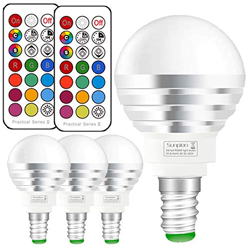 E14 Colour Changing Lights with Remote Control,3w Led Bulbs Colour Lights+Cool White,12 Colors Changing,Double Memory,Disco Party,Home Mood,Ambiance Lighting(4 Pack E14 RGB+6000K)