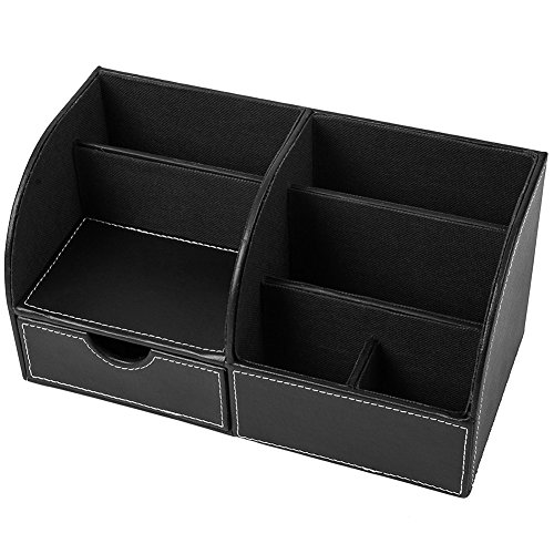 Desktop Organizer PU Leather Desk Storage Box Multifunctional Car Home Office Supplies Accessories Holder