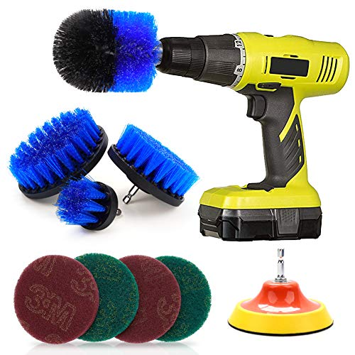 MASCARRY Drill Brush Attachment Set 9PCS Scouring Pads Power Scrubber Brush Scrub Bürstenaufsatz Bohrmaschine Fixing Bathroom Surfaces, Grout, Floor, Tub, Shower, Corners, Kitchen Cooktop, Pots - Power Scrubber