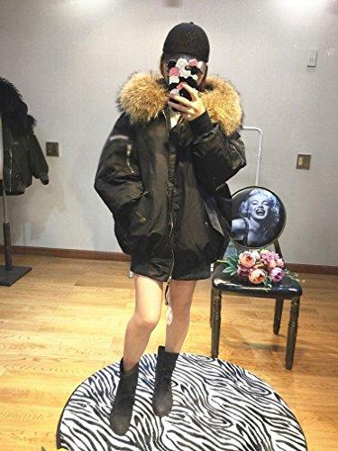 MRX Lose Winter Damen Mantel Mode Pelzkragen in Den Reißverschluss Wilde Mode Daunenjacke,Grün,M