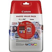 Canon CLI-551X L C/M/Y/BK serbatoi d' inchiostro + carta fotografica ciano Magenta giallo nero XL + 4x 6carta fotografica PP-20150Blatt vantaggio Pack Blister