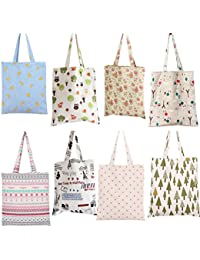 ELECTROPRIME Womens Canvas Storage Pouch Reusable Shopping Bag Tote Folding Handbag Casual