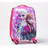 Hard Shell Kids Frozen Movie Elsa Anna & Olaf 4 Wheel Spinner Rolling Luggage Trolley Suitcase Travel Cabin Bag Girls Sisters Family Forever