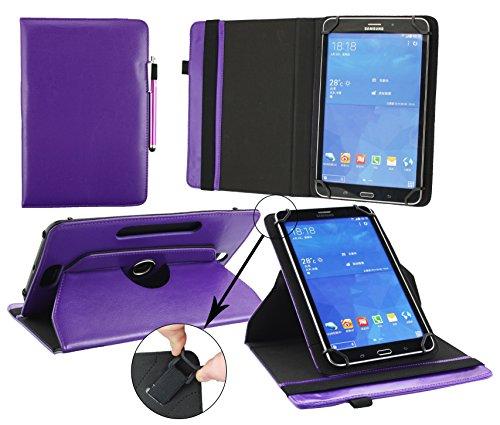 Emartbuy® Excelvan BT-1077 10.1 Pulgada Tablet PC Universal ( 9 - 10 Pulgada ) Púrpura Premium Cuero PU 360 Grados Soporte Giratorio Folio Carcasa Wallet Case + Púrpura Lápiz Óptico