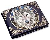 Herren Gothic-Geldbörse mit Wolfsmotiv - Wild One - geprägt | Fantasy-Geldbeutel mehrfarbig
