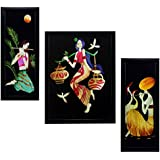 Indianara 3 Pc Set Of Still Art Paintings Without Glass 5.2 X 12.5, 9.5 X 12.5, 5.2 X 12.5 Inch