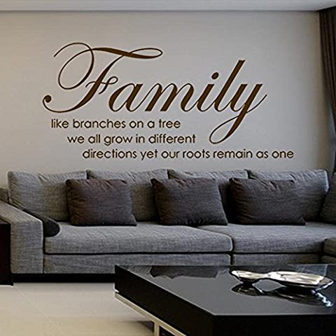 Family Like Branches on A Tree - Wall Stickers Quotes Vinyl Letterings & Sayings Wall Decals (Black, Medium)