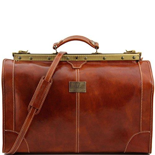 Tuscany Leather Madrid - Borsa da viaggio in pelle - Misura grande Miele Borsoni in pelle viaggio