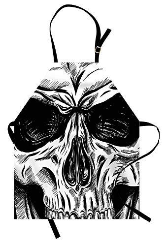 Halloween-Schürze, gotisches totes Schädel-Gesicht nahe herauf Skizze-Übel-Anatomie-Skelett-künstlerische Illustration, Unisexküchen-Latzschürze mit justierbarem Hals für das Kochen backende ()