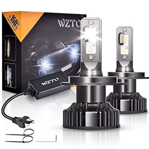 H4 LED, WZTO 12000LM Bombilla H4 led Coche Faros Delanteros 80W 6000K Bombilla Kit IP67 Impermeable - Garantía de 2 Años